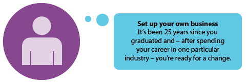 Set up your own business  It's been 25 years since you graduated and – after spending your career in one particular industry – you're ready for a change.